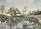Ein Bauernhaus an einem Teich