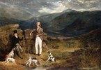 Zwei Herren mit Hühnerhunden im Moor