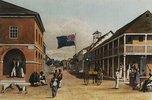 Ansicht einer jamaikanischen Stadt (nach einer Zeichnung von 1820-21)