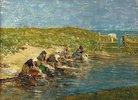 Wäscherinnen am Rand eines Teiches