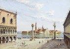 Der Markusplatz in Venedig mit San Giorgio Maggiore im Hintergrund