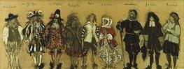 Kostümentwurf für neun Personen für 'La Coupe Enchantée' von Jean de la Fontaine