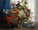 Mohnblumen, Chrysanthemen, Pfingstrosen und andere Wiesenblumen Glasvasen