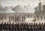 Die Erschießung von Kaiser Maximilian. 1867 (Ferdinand Maximilian, Erzherzog von Österreich wurde  von 1864 bis 1867 auf Betreiben Kaiser Napoleons III. als Kaiser von Mexiko inthronisiert und 1867 dort erschossen.)