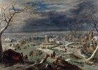 Winterlandschaft mit Schlittschuhläufern, Antwerpen im Hintergrund