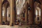 Interieur einer gotischen Kirche mit Stadtbewohnern und Pilgern