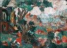 Pietra Dura Tafel. 16./17. Jh.  (Landschaft mit Baum, dem Flöte spielenden Merkur, dem schlafenden Argus und Io.)