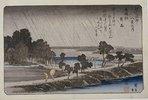 Night Rain at Azuma Shrine. From the series 'Eight Views of the Environs of Edo'
