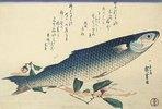 Meeräsche, Kamelie und Udo. Einer von fünf Entwürfen für die Serie 'Große Fische'. Signiert mit Ichiryusai Hiroshige Ga