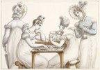 Damen beim Fertigen von Scherenschnitten