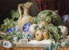 Stillleben mit einem Krug, Äpfeln, Pflaumen, Trauben und Blumen