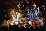 Stillleben mit einer Pastete und Früchten