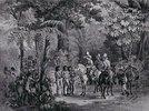 Begegnung einer europäischen Reisegruppe mit im Wald lebenden Indianern. Aus: 'Malerische Reise in Brasilien'. Herausgegeben von Engelmann und Cie, Paris
