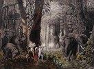 Elefantenjagd. Aus: 'Reise des Grafen Emanuel Andrasy in Ostindien, Ceylon, Java, China und Bengalen'. Herausgegeben