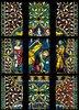 Menschwerdung Christi. Buntglasfenster im Chorumgang. Kurz vor