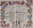 Eine Karte mit Frankfurt am Main im Zentrum und dem Mainlauf zwischen Hanau und Kelsterbach. Aus dem Werk 'Le Grand Atlas Ou Cosmograph E Blaviane'. Herausgegeben in Amsterdam