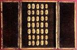 Ein seltenes Set von 35 geschnitzten Miniaturen des menschlichen Gesichts mit der Darstellung unterschiedlicher Leiden und Befindlichkeiten. Präsentiert in einem mit Samt ausgekleideten und mit Leder überzogenen Koffer mit Doppeltüren. Spätes 18. Jh
