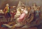 Mozart gibt Regieanweisungen an eingebildete Darsteller der Opern 'Don Giovanni' und 'Die Zauberflöte'