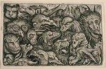 Köpfe grotesker Tiere