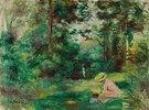 Lesende Frau auf einer Lichtung (Femme lisant dans une clairière (Paysage, petite femme en rose au premier plan))