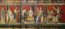 Fresko mit der Darstellung dionysischer Mysterien. 1. Jh. n. Chr