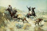 Cowboys beim Fangen eines Kalbes (Range Mother)