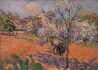 Bauersleute beim Bohnensäen unter blühenden Obstbäumen