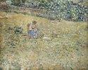 Frau mit einer Ziege auf einer Blumenwiese