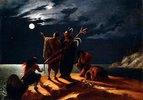Indianer beim Betrachten einer Mondfinsternis