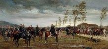 Übergabe von Metz. 1876 (Das Gemälde zeigt die Kavalleriedivision der französischen kaiserlichen Leibgarde, die nach der Kapitulation der französischen Armee durch Marschall Bazaine am 29.10.1870 hinter Prinz Friedrich Karl von Preußen steht.)