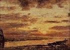 Sonnenuntergang über dem Meer bei Trouville
