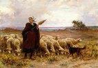 Schäferin mit ihrer Herde