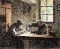 Altes Ehepaar beim Trinken von Eau de vie
