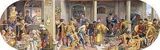 Ein florentinisches Fest: Vorbereitungen in der Küche und im Weinkeller (aus einer Folge von 6 Werken, siehe auch Bildnummern 42742-42746)