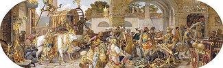 Ein florentinisches Fest: Ankunft der Vorräte (aus einer Folge von 6 Werken, siehe auch Bildnummern 42741-42743,42745+42746)