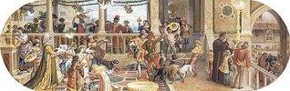 Ein florentinisches Fest: Verfüttern der Reste an die Tiere und ein Tisch für die Armen (aus einer Folge von 6 Werken, siehe auch Bildnummern 42741-42744+42746)