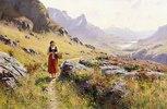 Strickendes Mädchen in einer Norwegischen Landschaft