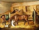 Pferde in einem Stall mit einem Pferdeknecht. 1809