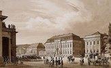Unter den Linden, Berlin. Blick von der Neuen Wache zum Kronprinzenpalais mit dem Prinzessinnenpalais rechte und der Kommandatur links