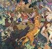 Die Bacchanale mit dem Königstiger (Le Bacchanale du Tigre Royal) (Linkes Teilstück einer Ziertafel für den Pelzladen 'Le Tigre Royal' in Genf)