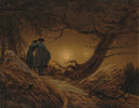 Zwei Männer in Betrachtung des Mondes