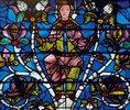 Westfenster mit dem Baum Jesse, die Abstammung Jesu zeigend. Um 1150. Detail: Jungfrau Maria