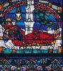 Westfenster mit dem Baum Jesse, die Abstammung Jesu zeigend. Um 1150. Detail: Schlafender Jesse