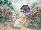 Junge Frau und ein kleines Mädchen auf einer Terrasse (Jeune Fille et Fillette sur la Terrasse)