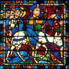 Mittleres Westfenster mit Kindheit und Leben Christi. Um 1145-1155. Detail: Der Einzug Jesu in Jerusalem