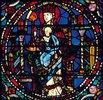 Mittleres Westfenster mit Kindheit und Leben Christi. Um 1145-1155. Detail: Thronende Madonna