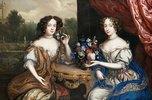 Doppelporträt von Lady Maria Somalia und Lady Anne Barrington an einem Tisch mit Blumen