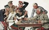 Generalfeldmarschall Hindenburg setzt den russischen Zaren Nikolaus II. schachmatt