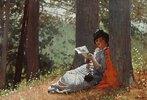 Lesendes Mädchen unter einer Eiche
