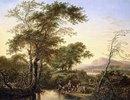 Eine italienisierende Flusslandschaft mit Reisenden an einem Teich